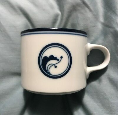 Dansk Flora Flat Cup Mug White with Blue Band and Design Blue Flora Cup