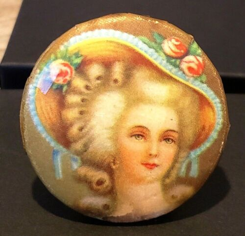 Beautiful Antique Button…Young Victorian Woman w Fancy Hat, Pink Roses 1&3/4, XL