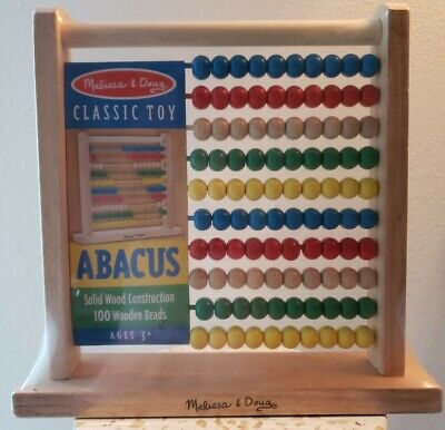 Melissa Doug Classic Wooden Abacus Calculator Concepts Learning Fun Activity