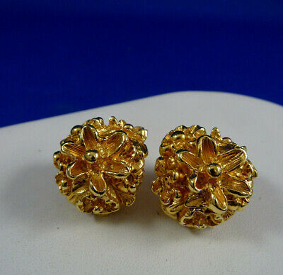 Fabulous Vintage Guy Laroche Gold Tone Clip On Earrings Paris Signed