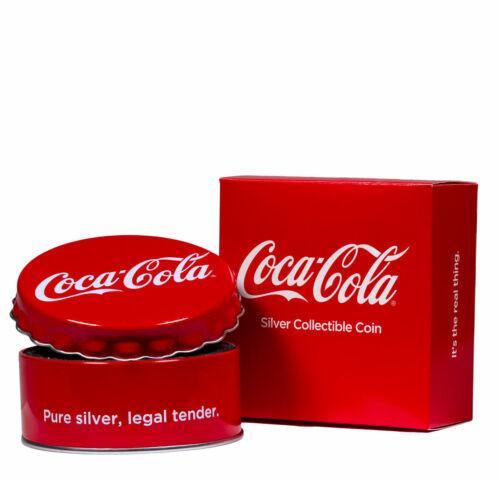 2018 Fiji Coca-Cola Bottle Cap-Shaped 6g Silver Colorized Proof $1 Coin SKU50357