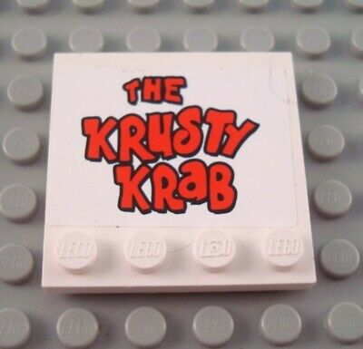 LEGO White 4x4 Spongebob Krusty Krab Edge Stud Specialty Tile Sign Part