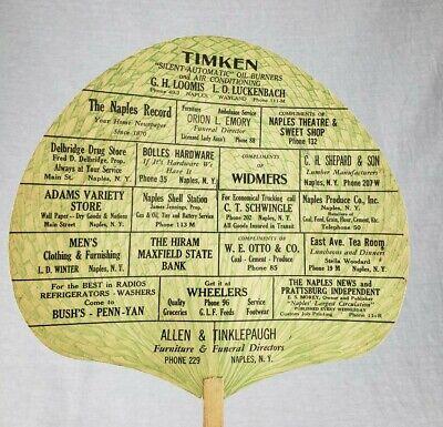 Rare Antique Naples NY Allen & Tinklepaugh Furniture & Funeral Advertising Fan