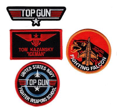Ice Man Costume (Ice Man Top Gun School Name Badge Costume Patch (4PC Set - iron on Sew)