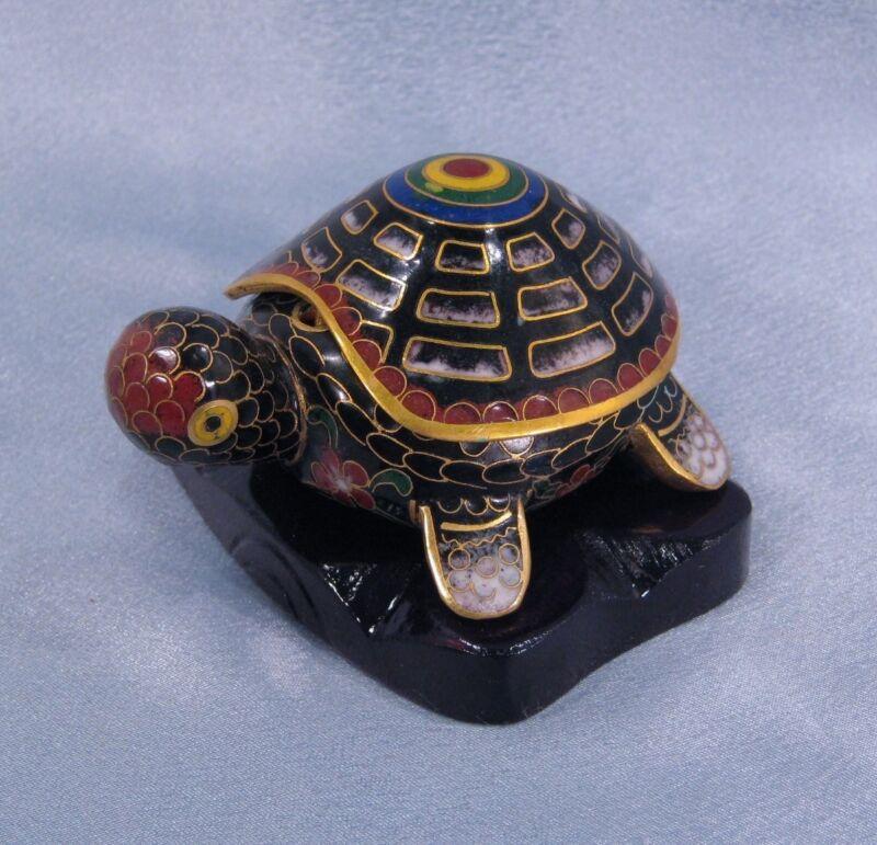 Cloisonne Figurine Vintage Turtle Trinket Box Black