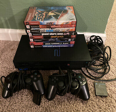 Sony Playstation 2 Console w/2 Controllers, 8 Games & Memory Card PS2 Tested