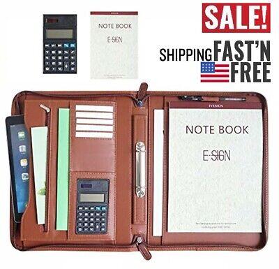 Ivesign Pu Leather Briefcase Business Binder Padfolio Portfolio With Calculator