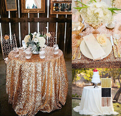 US 80cm Sequins Round Tablecloth For Wedding Party Dinner Table Cover Tableware