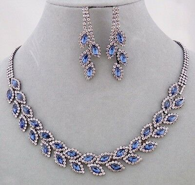 Hematite With Blue and Crystal Rhinestone Necklace Set Fashion Jewelry NEW