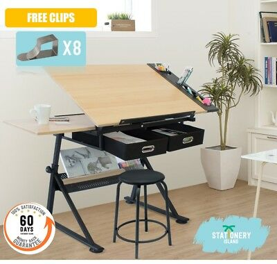 Stationery Island Adjustable Drafting Drawing Table W/Stool Craft Table Foula ()