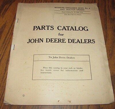 1950 John Deere Mower Enclosed Gear No 4 & Tractor Drawn Parts Catalog Manual