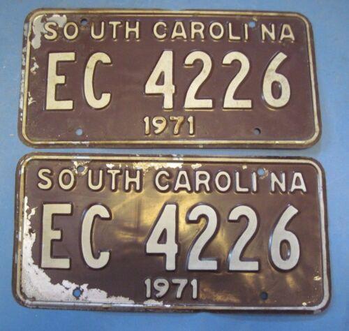 1971 South Carolina license plates matched pair