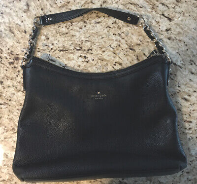 Kate Spade Black Pebbled Leather Hobo Bag Chain Strap
