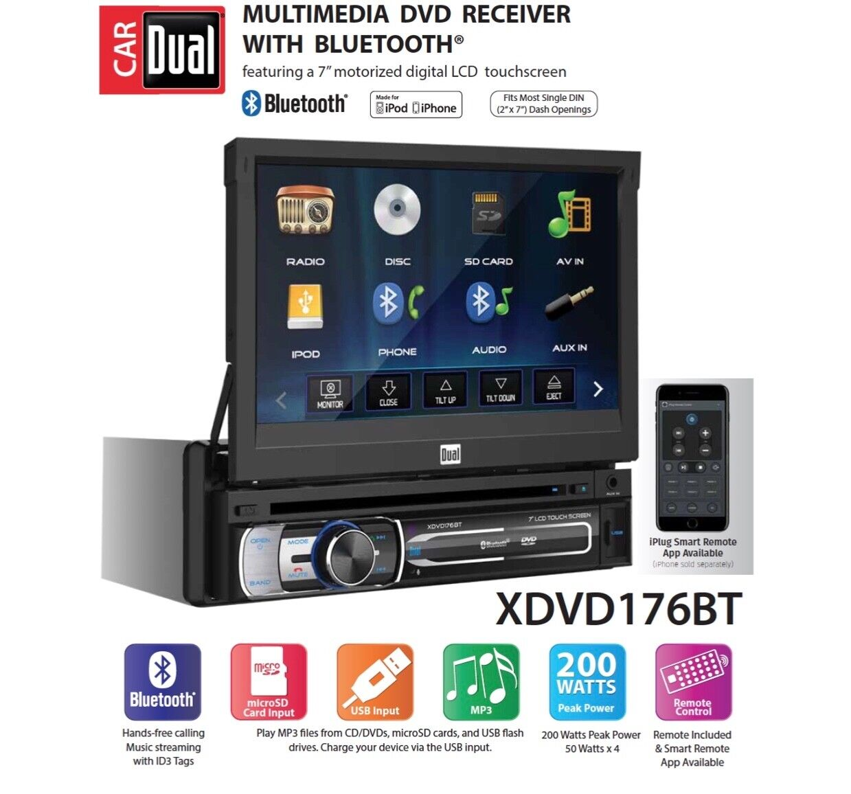 Dual Electronics XDVD176BT 7-inch LED Backlit LCD Touch Scre