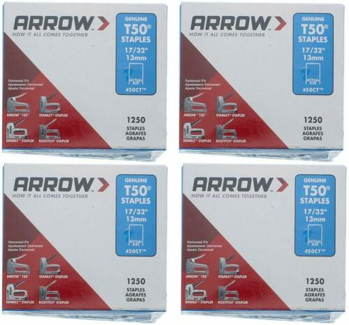 Arrow Fastener 508 Genuine T50 1/2-Inch Staples 4 PACKS OF 1250