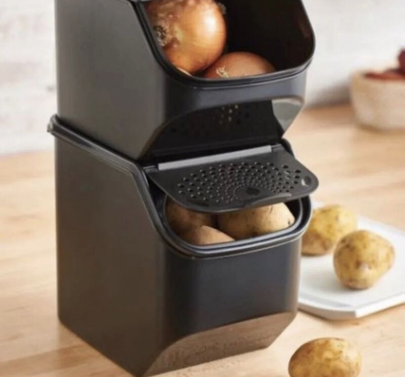Tupperware Potato Keeper Smart Mate Black 5.5 , Includes Two Containers