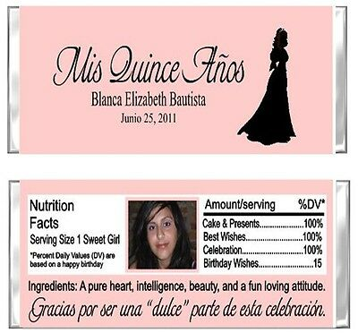 Quinceanera YOUR PHOTO ANY COLOR Y Birthday Candy Wrappers Party Favors Custom