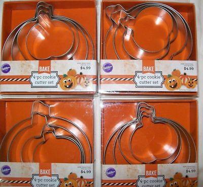 Wilton Pumpkin Halloween Nesting Metal 4pc COOKIE CUTTER SET Bulk Lot of 4 Packs