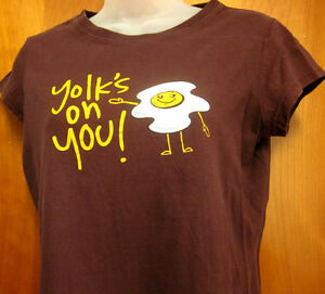 SCRAMBLED-EGGs-humor-juniors-XL-novelty-Yolk-039-s-On-You-Sunny-Side-Up-breakfast