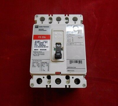 Cutler-hammer Fd3100l Circuit Breaker 100amp 3-pole 600v Newpanel Pull-out