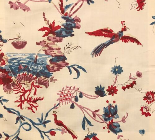 LE MANACH Pillement Creme Chinoiserie Cotton Remnant New
