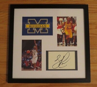 Jalen Rose Autograph Autographed Framed MICHIGAN Fab Five Basketball Signed