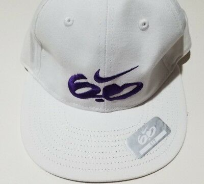 f7fde284 Boys Unisex Nike 6.0 White Hat Purple Swoosh 100% Cotton Fitted Ball Cap Hat  4-7