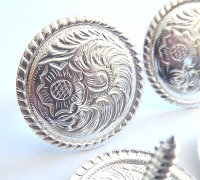 """1"""" SET OF 4 WESTERN SADDLE BRIGHT SILVER ENGRAVED CONCHO Screw Back"""