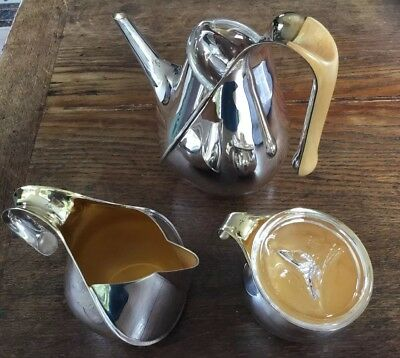 Alessi Oscar Tusquets Tee/Kaffee Set Silber innen Gold Kristallglas Apfelholz ()