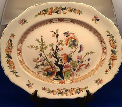 "Antique INDIAN TREE - HANCOCK & SONS - Extra Large OVAL SERVING PLATTER (16"")"