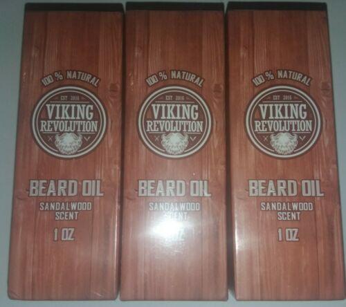 3x Viking Revolution Beard Oil Sandal Wood Scent 1 Oz. New S