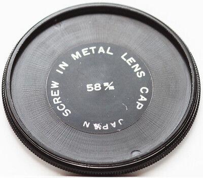 Vintage 58mm 58 mm Metal Front Lens Cap Screw in Made in Japan