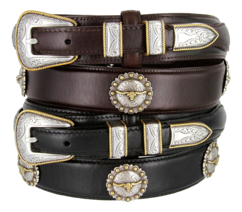 Gold Longhorn Steer - Oil Tanned Concho Genuine Leather Casual Jean Ranger Belt