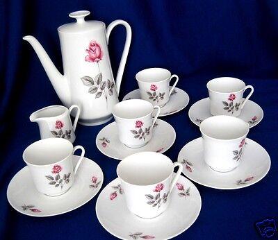 Kaffeeservice 6 Tassen Kanne Milchkännchen Winterling Röslau Rosendekor Vintage