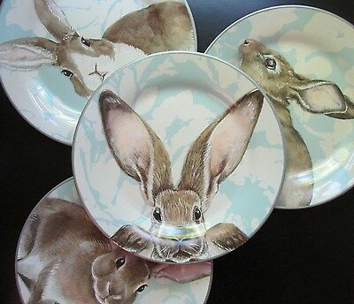 Williams Sonoma DAMASK ~Easter~ BUNNY SALAD PLATES, Mixed Set of 4, NEW