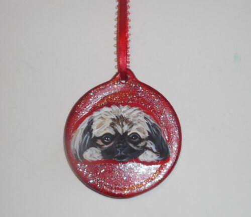 Pekingese Dog Christmas Ornament Decoration Hand Painted Ceramic