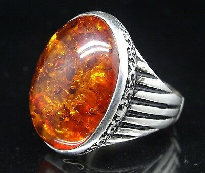 Turkish Handmade  925 Sterling Silver  Amber Mens Ring Sz 11 us  Free Resize