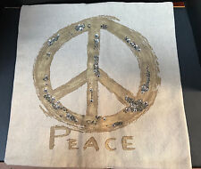 Pottery Barn Metallic Embroidered Peace Pillow Cover Gold