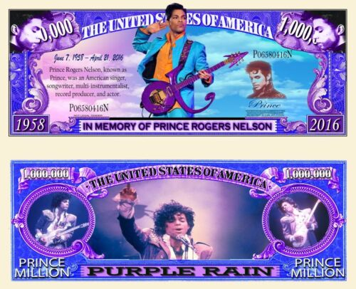 Prince Purple Rain Million Dollar Bill Funny Money Novelty Note with FREE SLEEVE