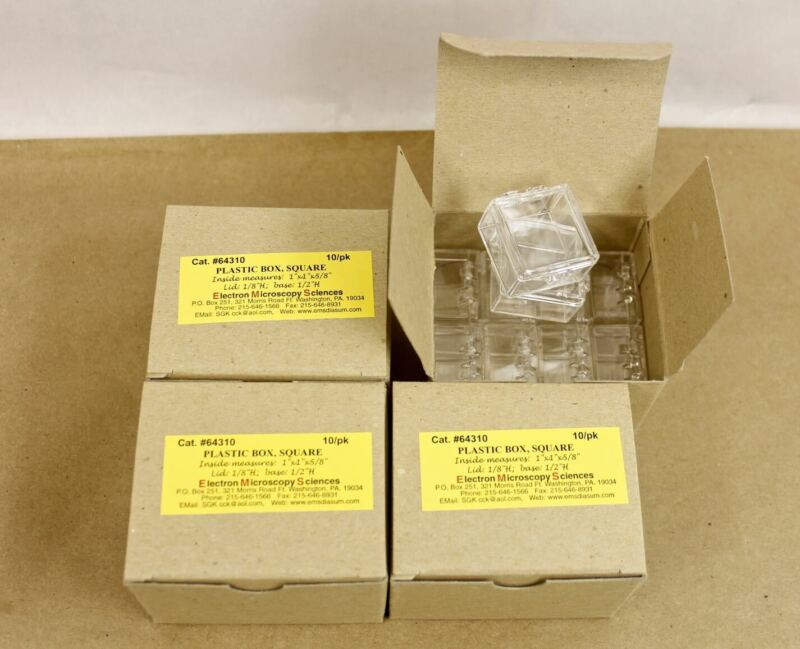 "40 Small Square Clear Plastic Hinged Boxes 1""x 1""x 5/8"" Inside 1-1/8""x 3/4"" Out"