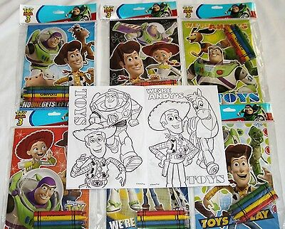12 Disney Pixar Toy Story 3 Coloring Books 48 Crayons Party Bag Filler Supply