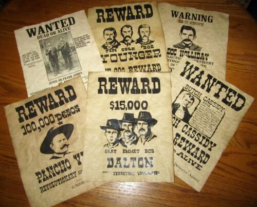 Pancho Villa Old West Wanted Posters Doc Holliday Jesse James Youngers Daltons