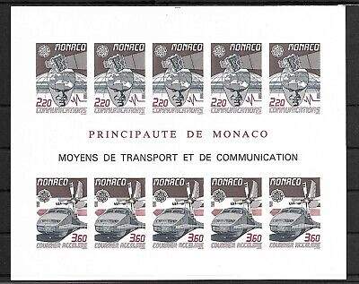 SMT, Monaco, 1988, Europa-CEPT 'Transportation' IMPERFORATE sheet, MNH, CV € 465