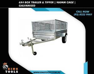 Brand New BOX TRAILER and TIPPER - 6X4 900MM CAGE GALVANISED