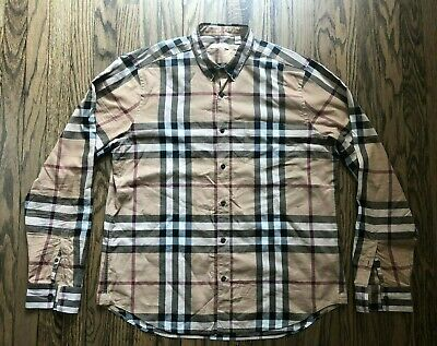 Burberry Brit Mens Signature Nova Check Long Sleeve Button Down Shirt XL