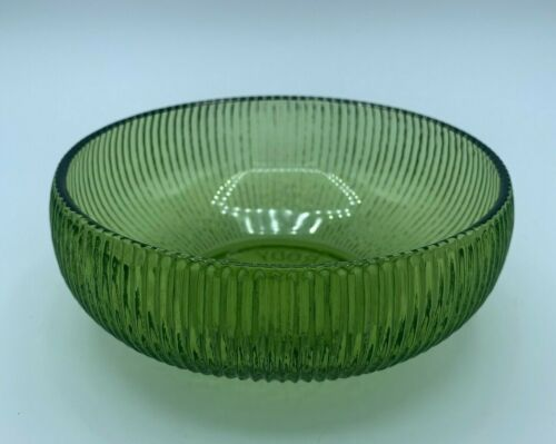 Vintage E.O BRODY CO. Emerald Green Ribbed Glass Candy Bowl Dish