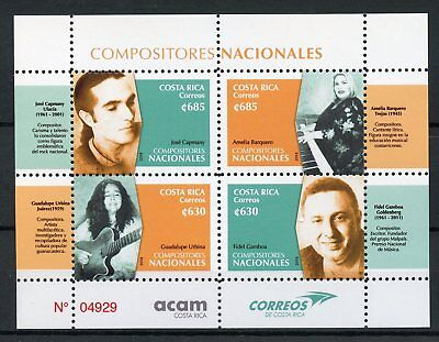 Costa Rica 2018 MNH National Composers Guadalupe Urbina 4v M/S Music Stamps