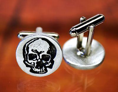 Skull Cufflinks | Halloween Cuff Links | Goth Cufflinks in Fine Pewter - Halloween Links