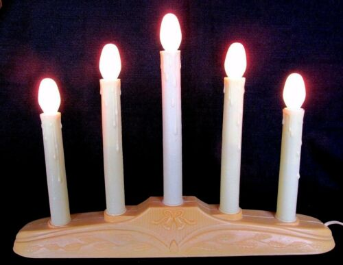 Working 5 Light Christmas Candolier With Holly Berry & Bell Base Candle Lamp