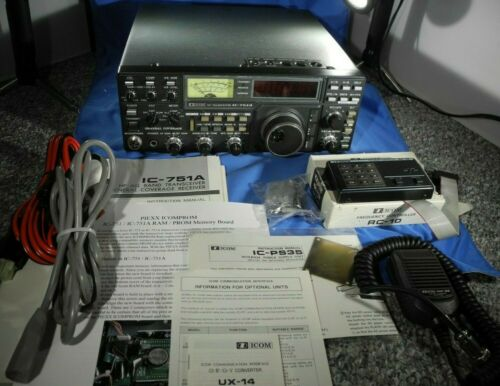 Icom IC-751A Transceiver W/ RC-10, IC-PS35, UX-14, FL-44A, PIEXX ICOMPROM MORE!